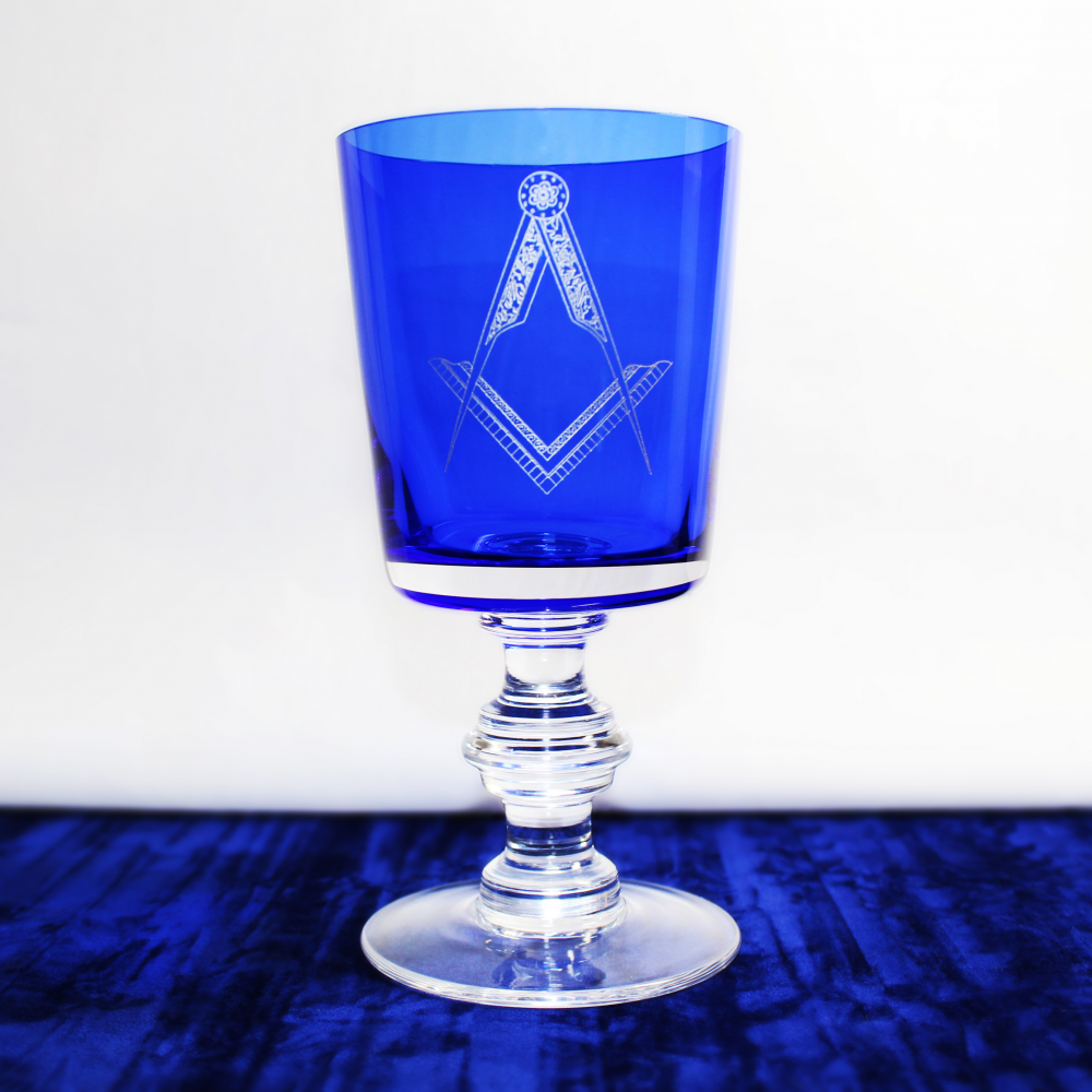 Square and Compass Without G Cobalt Regal Wine Glass